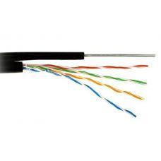 Кабель для компьютерных сетей CADENA FTP4-CAT5e (24AWG) медный с тросом, внешний, черный, 305 м